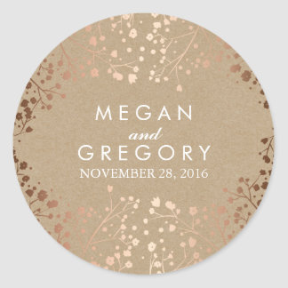 Kraft and Rose Gold Baby's Breath Wedding Classic Round Sticker