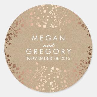 Kraft and Rose Gold Baby's Breath Wedding Round Sticker