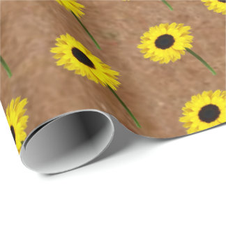 Kraft Autumn Bride Sunflower Party Wrapping Paper