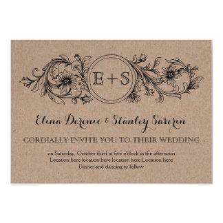 Kraft cardboard floral frame with initials wedding 13 cm x 18 cm invitation card