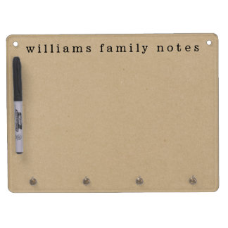 Kraft Effect Family Messages Dry Erase Board With Key Ring Holder