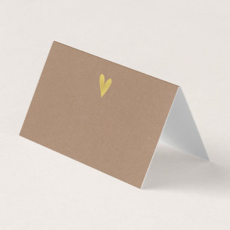 Kraft Effect Gold Heart Wedding Folded Place Cards