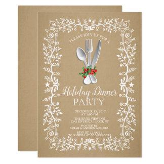 Kraft Elegant Holiday Christmas Dinner Invitation