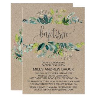 Kraft Foliage Baptism Card