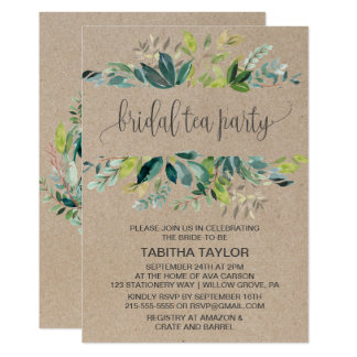 Kraft Foliage Bridal Tea Party Card