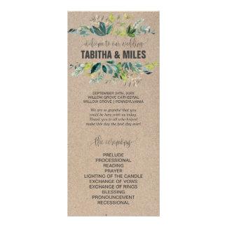 Kraft Foliage Wedding Program Rack Card