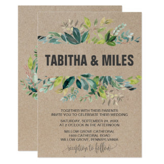 Kraft Foliage with Monogram Wreath Backing Wedding Card