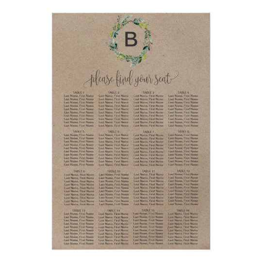 Kraft Foliage Wreath Monogram Seating Chart