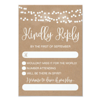 Kraft Lace and Lights Rustic Wedding RSVP Card