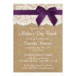 Kraft, Lace & Purple Bow Mother's Day Brunch 13 Cm X 18 Cm Invitation Card