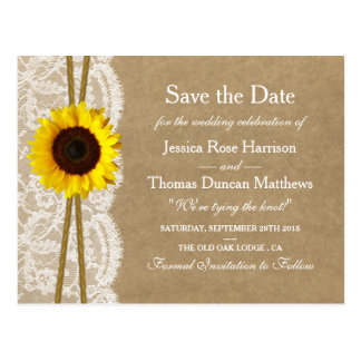 Kraft, Lace & Sunflower Collection Save The Date Postcard