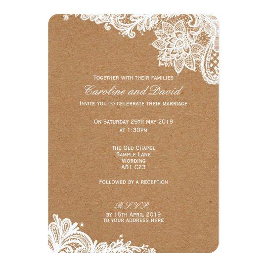 Kraft Lace Wedding Invitation