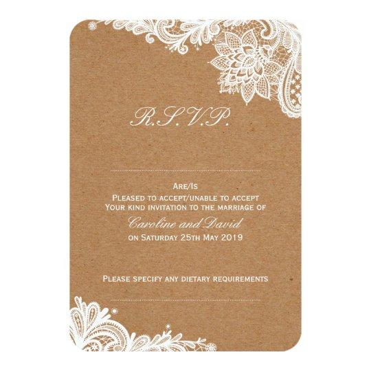 Kraft Lace Wedding RSVP Card