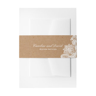 Kraft Lace Wedding Tie Invitation Belly Band