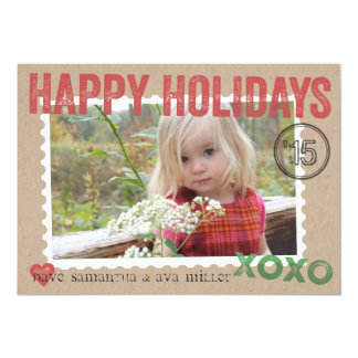 Kraft Packaging Stamped Holiday Photo Card 13 Cm X 18 Cm Invitation Card
