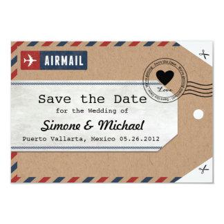 Kraft Paper Airmail Luggage Tag Save the Dates 9 Cm X 13 Cm Invitation Card