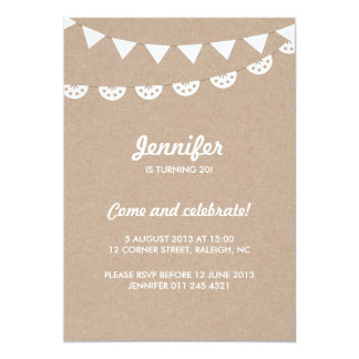 """Kraft Paper and White Bunting Party 5"""" X 7"""" Invitation Card"""