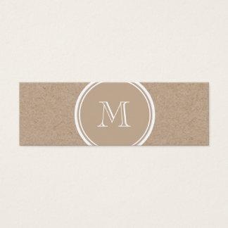 Kraft Paper Background Monogram Mini Business Card