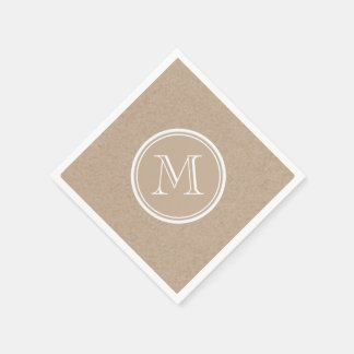 Kraft Paper Background Monogram Paper Napkins