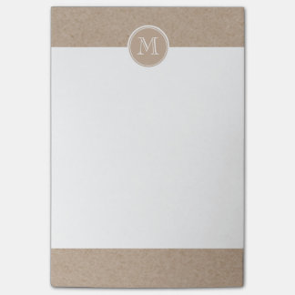 Kraft Paper Background Monogram Post-it Notes