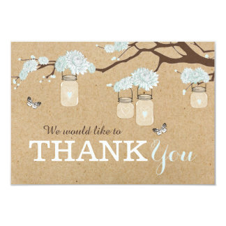 Kraft Paper Blue Dahlia Flower Branch Thank You Card