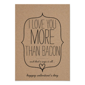 Kraft Paper Cute Heart Funny Bacon Valentines Day 13 Cm X 18 Cm Invitation Card