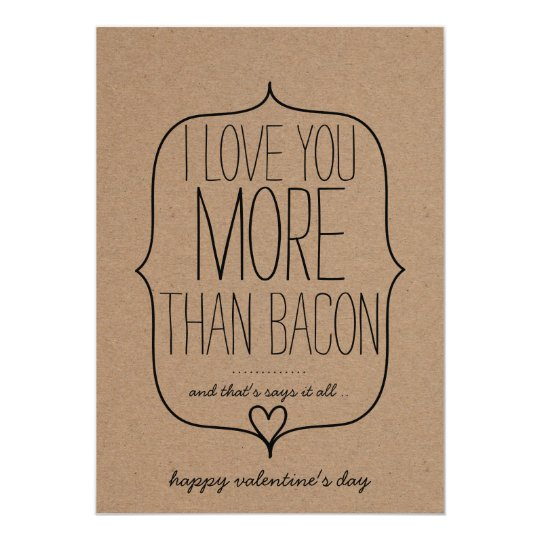 Kraft Paper Cute Heart Funny Bacon Valentines Day