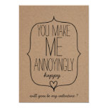 Kraft Paper Cute Heart Funny Valentines Day 13 Cm X 18 Cm Invitation Card