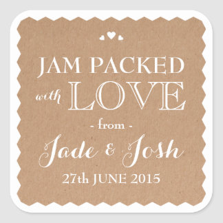 Kraft Paper Hearts Wedding Favor Jam Jar Sticker