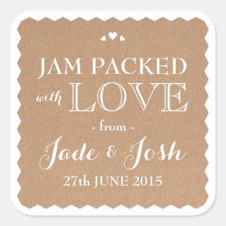 Kraft Paper Hearts Wedding Favor Jam Jar Sticker