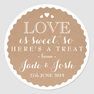 Kraft Paper Hearts Wedding Favor Jar Round Sticker