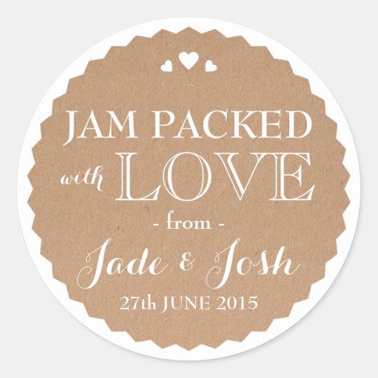 Kraft Paper Hearts Wedding Favour Jar Round Classic Round Sticker