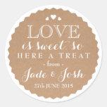 Kraft Paper Hearts Wedding Favour Jar Round Round Sticker