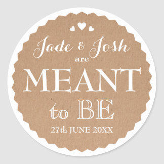 Kraft Paper Hearts Wedding Meant to Be Favor Round Sticker