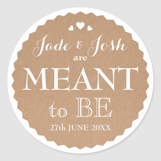 Kraft Paper Hearts Wedding Meant to Be Favour