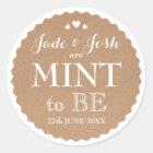 Kraft Paper Hearts Wedding Mint Favour Round Classic Round Sticker