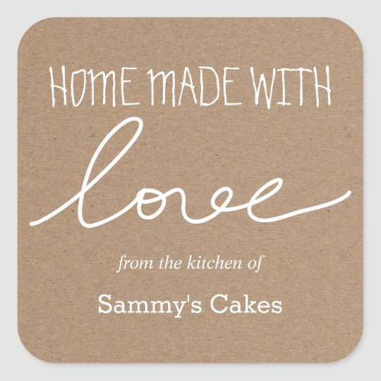 Kraft Paper Home Made With Love Typography Square