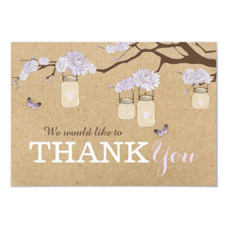 Kraft Paper Lavender Dahlia Flower Thank You Card
