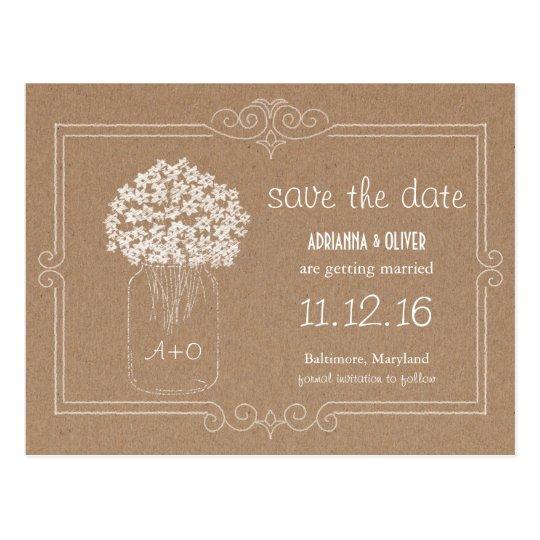 Kraft Paper Mason Jar Flowers Save The Date