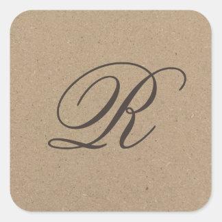 Kraft paper monogram sticker