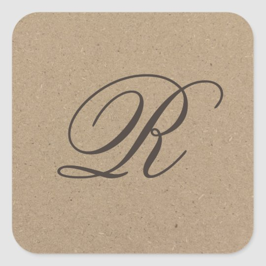 Kraft paper monogram sticker