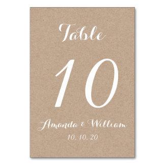 Kraft Paper Script Wedding Table Number Card