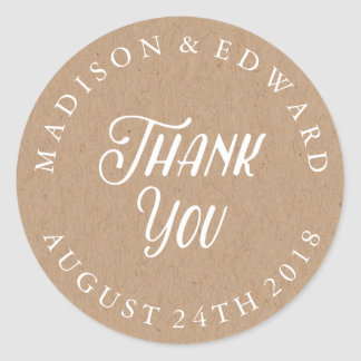 Kraft Paper wedding favor sticker Thank You