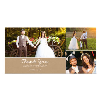 Kraft Paper Wedding Thank You Photo Card