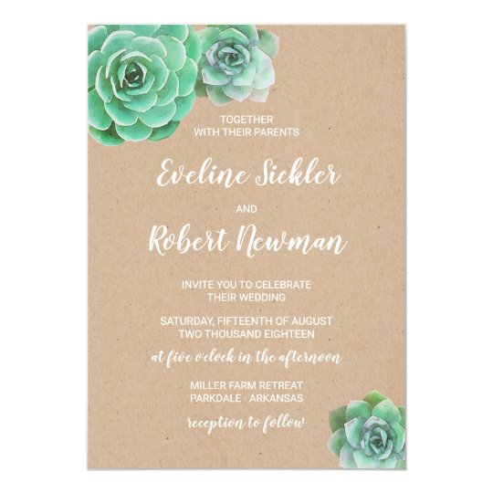 Kraft Paper with Succulents Wedding Invitation