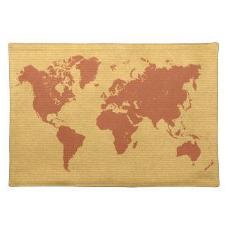 Kraft Paper World Map Placemat