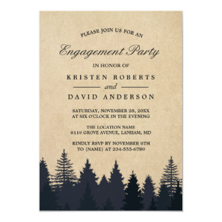 Kraft Pine Tree Forest Wedding Engagement Party 13 Cm X 18 Cm Invitation Card