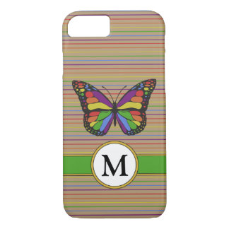 Kraft Rainbow Butterfly Pinstripes Monogram iPhone 8/7 Case