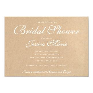 Kraft Recycled Paper Bridal Shower Invitation