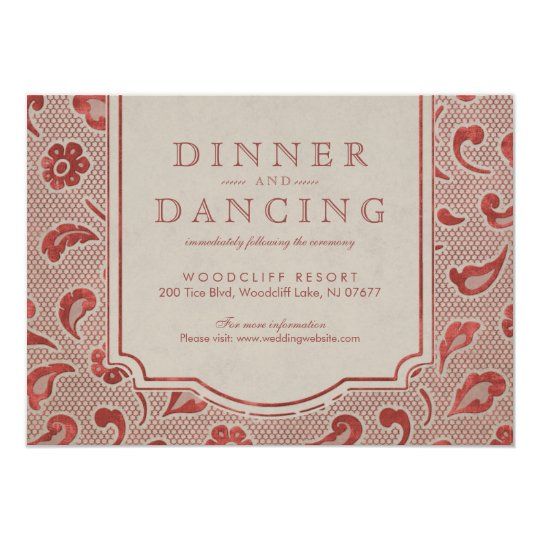 Kraft red Lace rustic country wedding reception Card